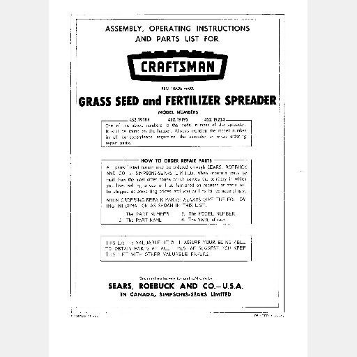 SEARS CRAFTSMAN GRASS SEED FERTILIZER SPREADER Instructions Parts 452.19184 452.19195 452.19204