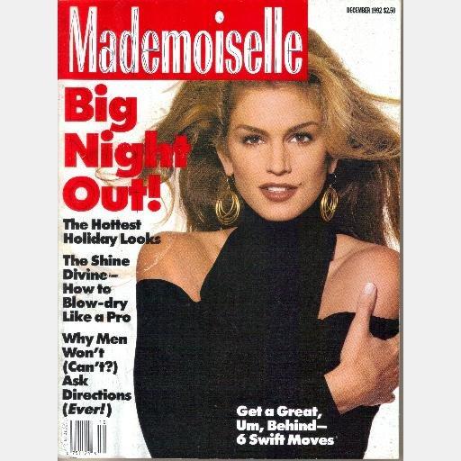 MADEMOISELLE December 1992 Magazine CINDY CRAWFORD COVER Eva Herzigova