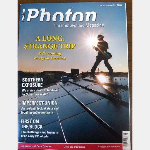 PHOTON November 2009 Photovoltaic PV Magazine Rick Elkus Bill Brooks Anaheim Solar Power 2009