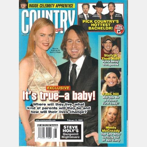 COUNTRY WEEKLY February 11 2008 Vol 15 No 3 Nicole Kidman Baby Mindy McCready ASHTON SHEPHERD