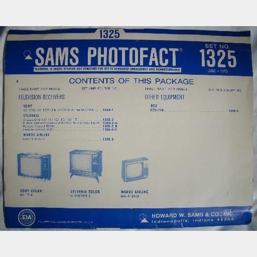 SAMS PHOTOFACT 1325 1973 Sylvania CL2351WR2 Sony KV-1710 KV1720 Wards Airline GAI-11253A/B