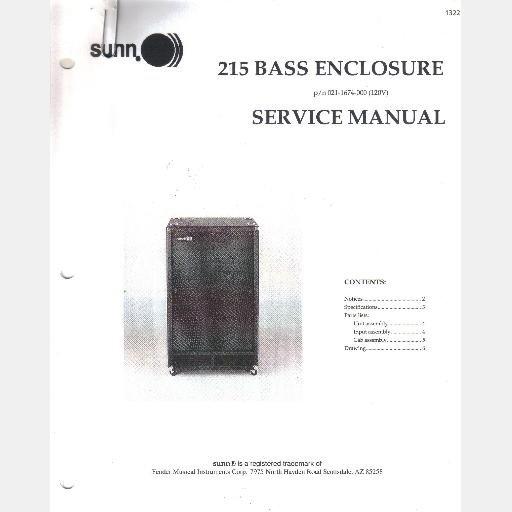 Fender SUNN 215 Bass Enclosure Service Manual 1998 021-1674-000