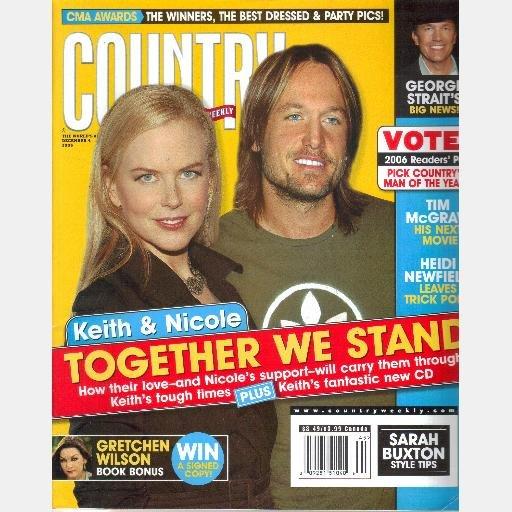 COUNTRY WEEKLY December 4 2006 Keith Urban Nicole Kidman Gretchen Wilson Heidi Newfield Tom Wurth