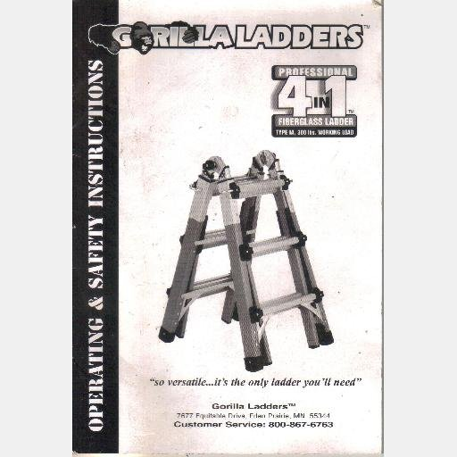 GORILLA LADDERS Operating and Safety Instructions Owner's Manual Guide