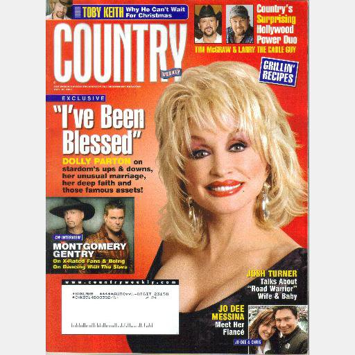 COUNTRY WEEKLY July 30 2007 Dolly Parton I've Been Blessed Toby Keith Tim McGraw Larry the Cable Guy