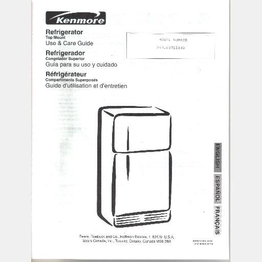 Sears Refrigerator Wiring Diagram : Sears kenmore refrigerator repair parts list model