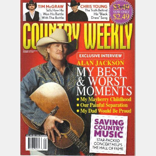 COUNTRY WEEKLY November 16 2009 ALAN JACKSON Chris Young Tim McGraw Emma Jacob
