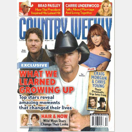 COUNTRY WEEKLY December 14 2009 Blake Shelton Reba McEntire Tim McGraw Radney Foster