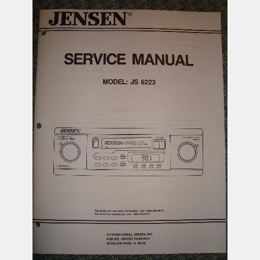 JENSEN    JS6223 JS 6223 SERVICE MANUAL AM FM    Radio       Stereo    Receiver Auto Reverse Cassette 1993