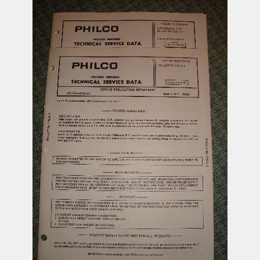 PHILCO E25 2 E25 3 Color Television TV Technical Service Manual Data Supplement