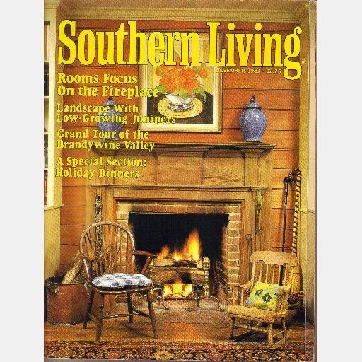 SOUTHERN LIVING November 1983 FIREPLACE Brandywine Valley Tour TABBY Walnut Grove Saluda NC