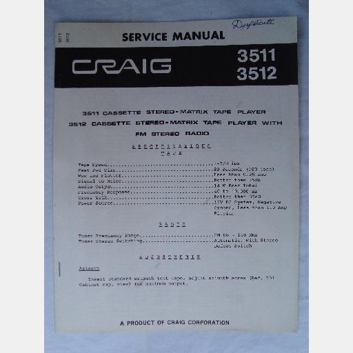 craig 3511 3512 service manual fm stereo cassette matrix. Black Bedroom Furniture Sets. Home Design Ideas