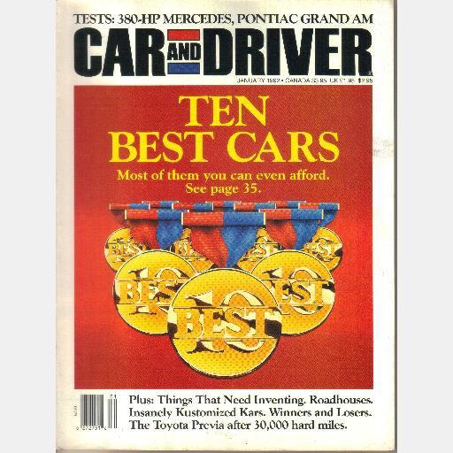 CAR AND DRIVER January 1992 Ten Best Issue 380 HP Mercedes Pontiac Gran Am Renntech 600E Previa