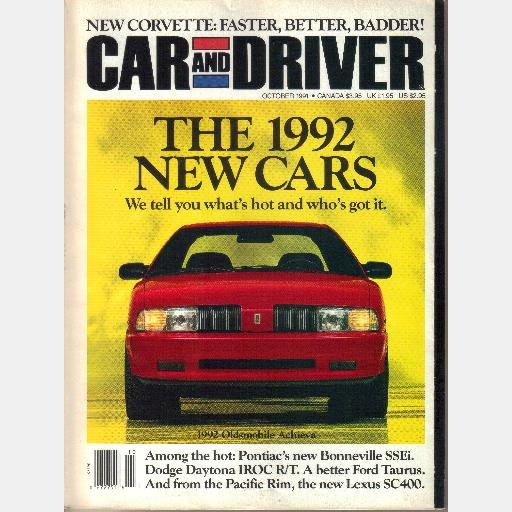 CAR AND DRIVER October 1991 Pontiac Bonneville SSEi Dodge daytona IROC RT Lexus SC400