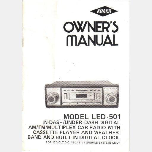 kraco owner 39 s manual led 501 in under dash digital am fm. Black Bedroom Furniture Sets. Home Design Ideas