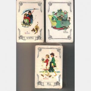 NORMAN ROCKWELL Playing cards LOT 3 packs Trump Gold Circle Line FALL WINTER 1970's