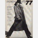 VOGUE UK Fashion Hits 77 December 1977 Tweed Greatcoat Pierrot Blouse Blouson Shawl Dirndl Cowl Neck