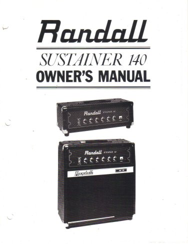RANDALL INSTRUMENTS INC Owners Manual Schematic SUSTAINER 140 Amplifier Pre Amp