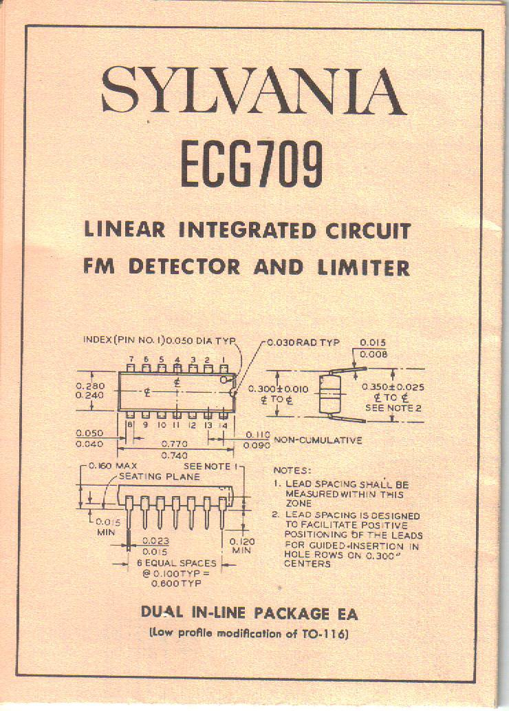 SYLVANIA ECG709 Linear Integrated Circuit FM Detector Limiter Owner Manual Guide Circuit Schematic