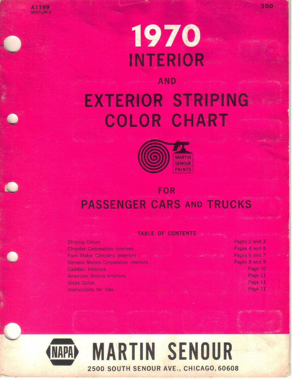 1970 Interior Exterior Striping Color Chart Passenger Cars Trucks Ford AMC Cadillac GM Chrysler