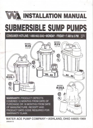 Water Ace Submersible Sump Pump Installation Manual Instructions Guide Models R5S-1 R3S R3V R2RSA