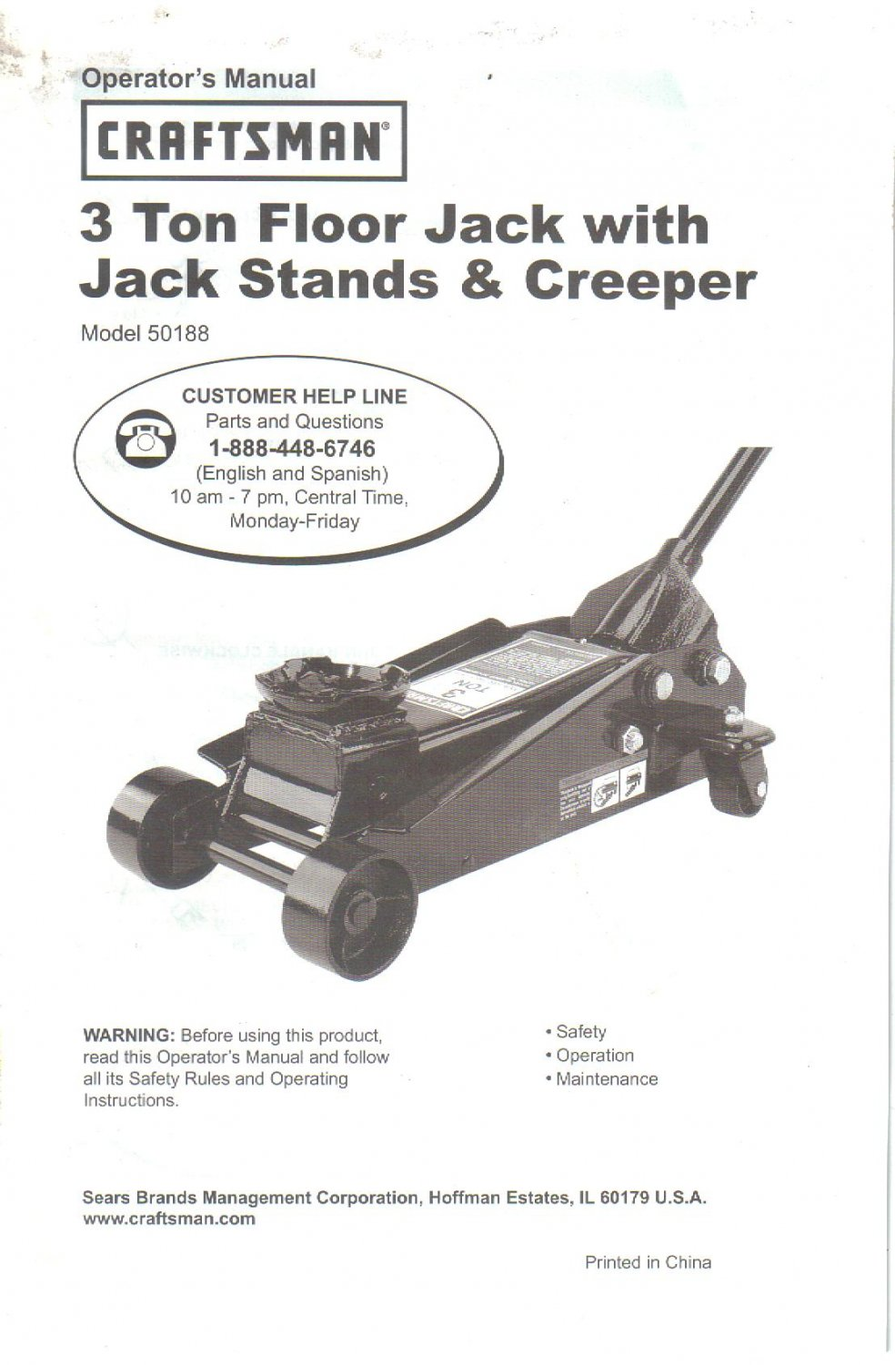 Sears 3 Ton Floor Jack Owner's Operator's Manual Instructions Guide, Model 50188 Jack Stands Creeper