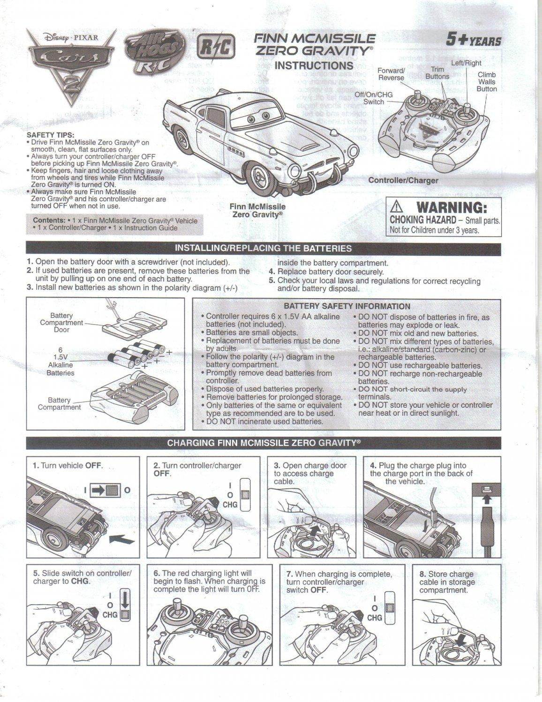 Finn McMissile Zero Gravity RC Radio Controlled Car, Instruction Manual Guide, Disney Pixar