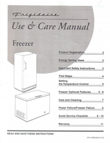 Frigidaire Freezer Use and Care Manual, Operator Owner's Guide