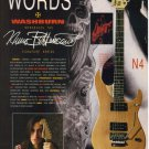 WASHBURN INTERNATIONAL Guitar ad advertisement NUNO BETTENCOURT Signature Series N4 Model 1991
