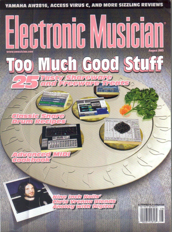 Electronic Musician Magazine-August 2003-Nine Inch Nails-Chris Vrenna-Yamaha AW2816