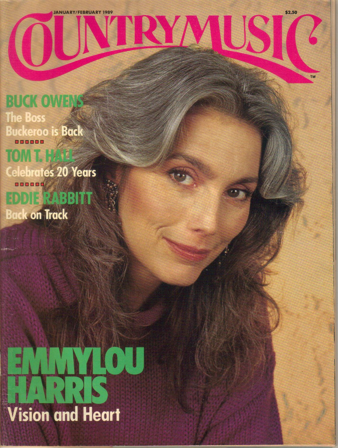COUNTRY MUSIC January February 1989 No 135 EMMYLOU HARRIS Eddie Rabbitt Tom T Hall BUCK OWENS