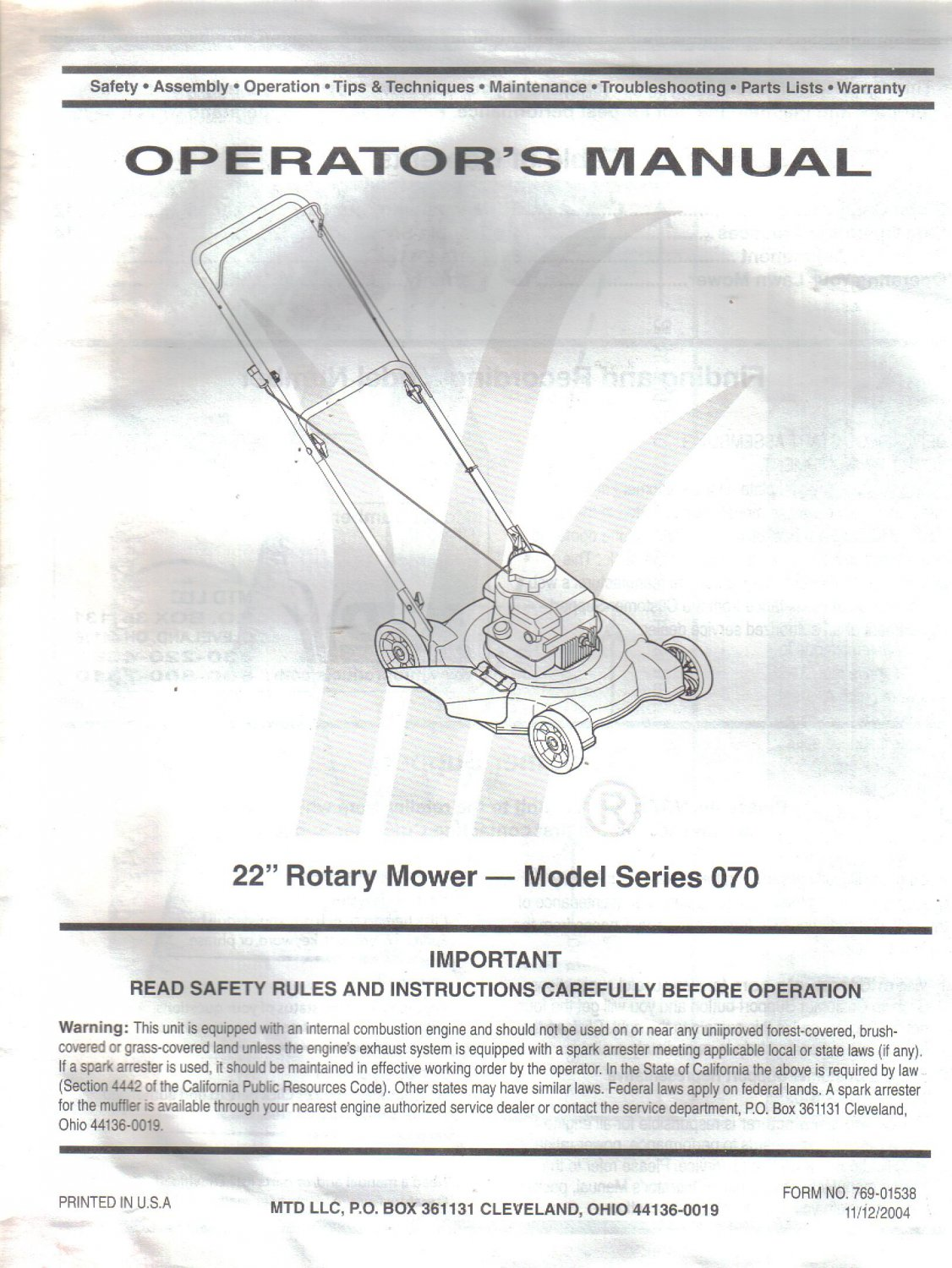 MTD 22 inch Rotary Lawn Mower Model Series 070 OWNER'S OPERATOR'S MANUAL 2004