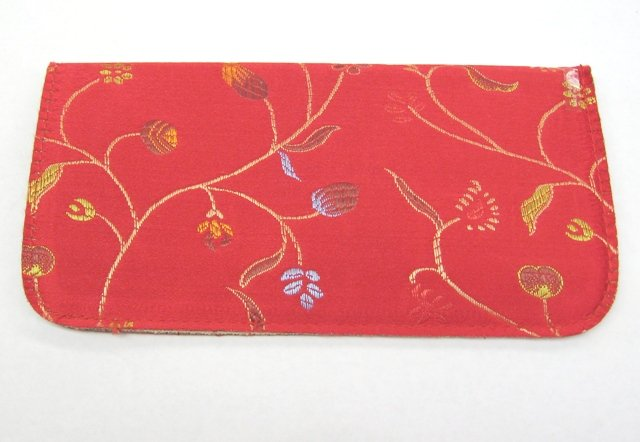Red slip in case with Floral stitch