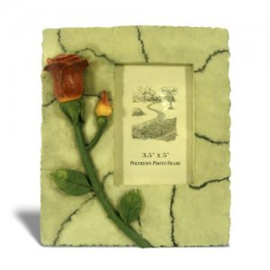 """Picture Frame 3D Red Rose on Marble for 3½"""" x 5"""" Photo _3051"""
