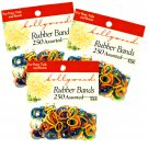 Hair Rubber Bands - 750 pcs Multi-Color 3 packs of 250 pcs/pk - Hollywood Brand _61-021