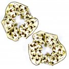 Satin Hair Scrunchies (2) Gold Champagne & Chocolate Brown Butterfly Print_09-1902