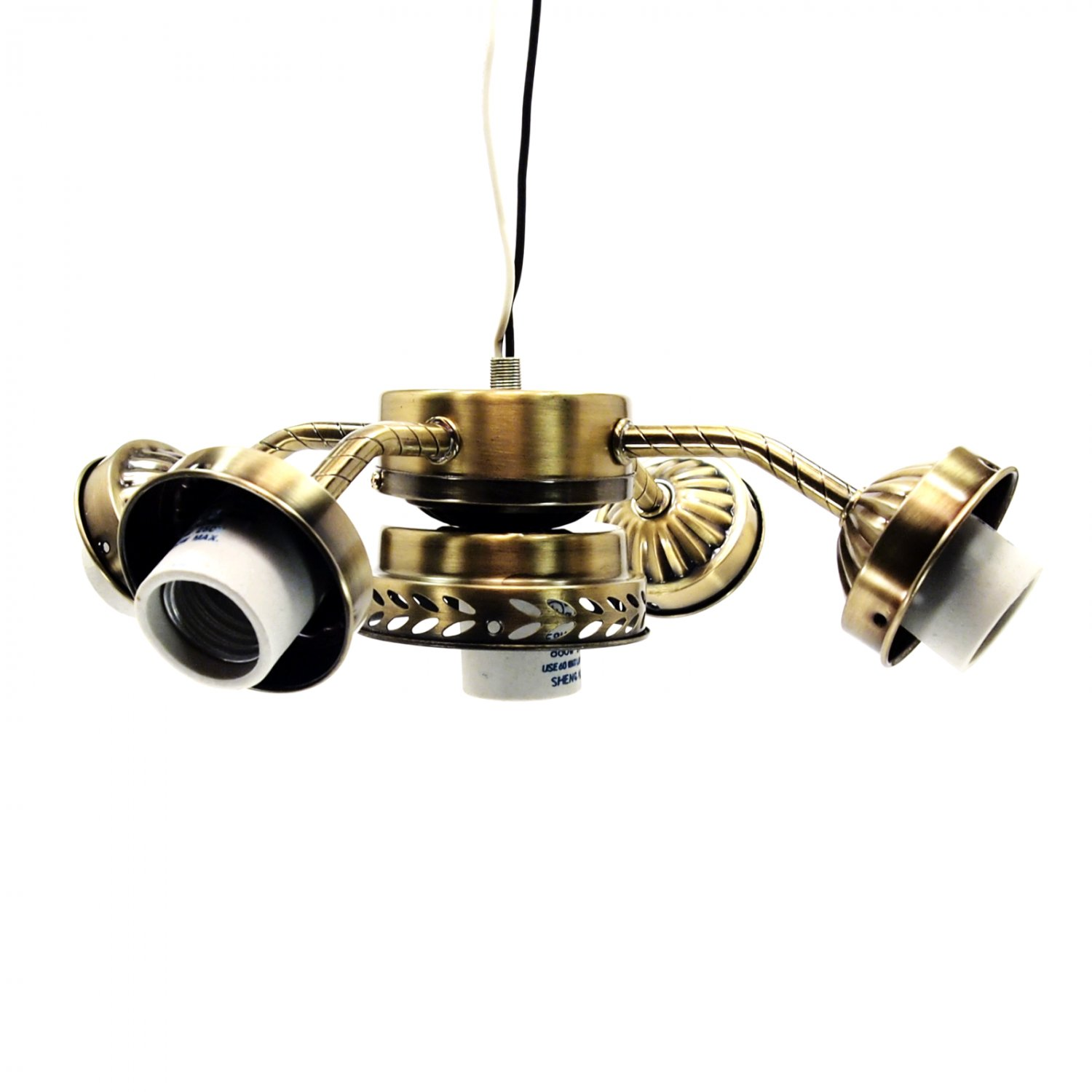 Ceiling Fan Light Kit Straight Arm 5 Lamp With Pull Switch Antique Brass 236 L03ab