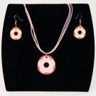 3-pc Jewelry Set Necklace and Earrings with Flower Design Pendant - Pink _09-1920P