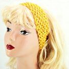 "Hair Band Crocheted Stretchy Fabric Headband 2.75"" - Bright Yellow _09-1913"