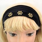"Hair Band Black Velour Fabric Gold Embroidered Flowers 2.75"" Headband Wrap _144-60"