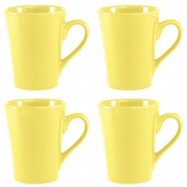 Coffee Mugs 12 oz Set of 4 Pale Yellow Stoneware Dishwasher/Microwave Safe _261-04x4