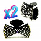 "Set of 2 Hair Claw Clips 3 ½"" Black Acrylic Bow Tie Design Covered in Rhinestone-like Sequins _1871"