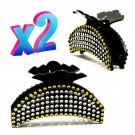 "Hair Claw Clip 3 ½"" Black Acrylic Crescent Moon Design Covered in Rhinestone-like Sequins _1872"