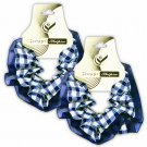 Hair Scrunchies Set of 2 Ponytail Holders Blue Plaid w/Chiffon Trim_09-1900B