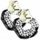 Hair Scrunchies Set of 2 Ponytail Holders Black Plaid w/Chiffon Trim_09-1900K
