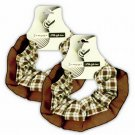 Hair Scrunchies Set of 2 Ponytail Holders Brown Plaid w/Chiffon Trim_09-1900N