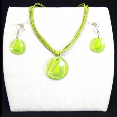 """3-pc Jewelry Set Necklace and Earrings with """"Fiji"""" Design Pendants - Lime Green _09-1926G"""