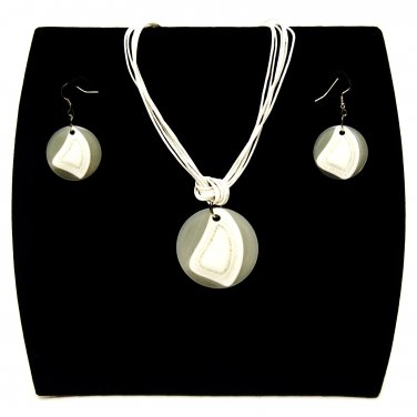 """3-pc Jewelry Set Necklace and Earrings with """"Fiji"""" Design Pendants - White _09-1926W"""