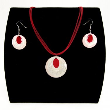 """3-pc Jewelry Set Necklace and Earrings with """"Ellipses"""" Design Pendants - Red _09-1925R"""