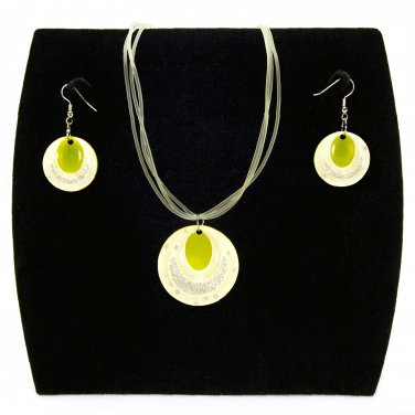 "3-pc Jewelry Set Necklace and Earrings with ""Ellipses"" Design Pendants - Yellow _09-1925Y"